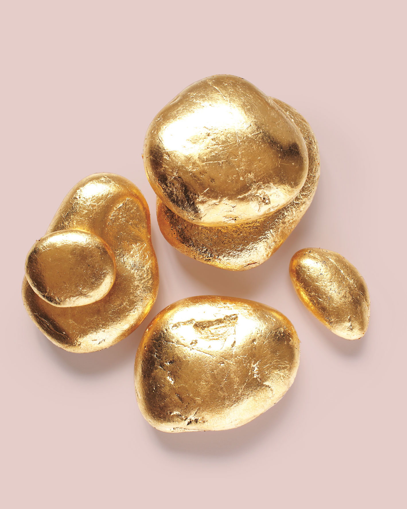 painted gold rocks