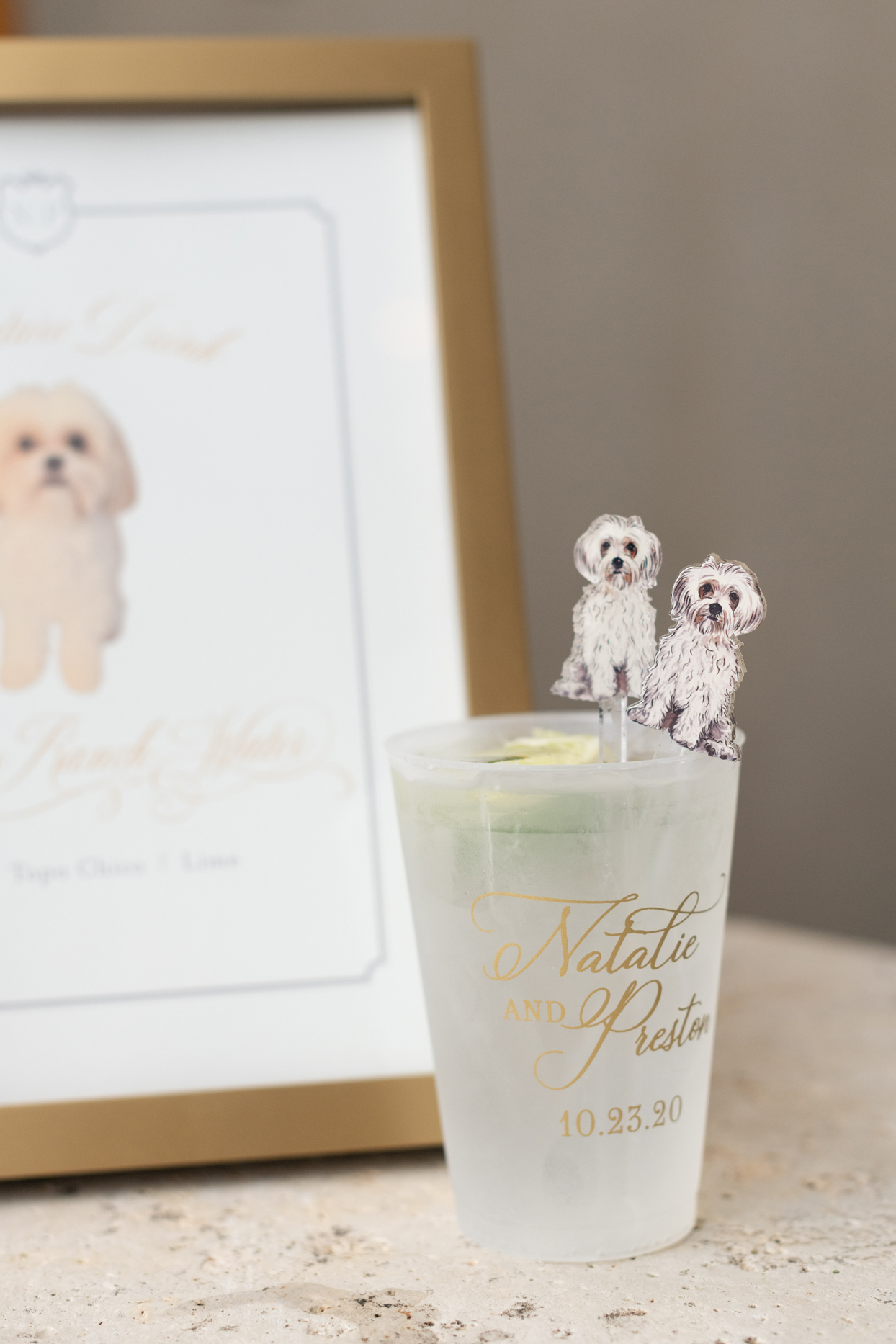 wedding cocktail glass with custom monogram and dog cutouts