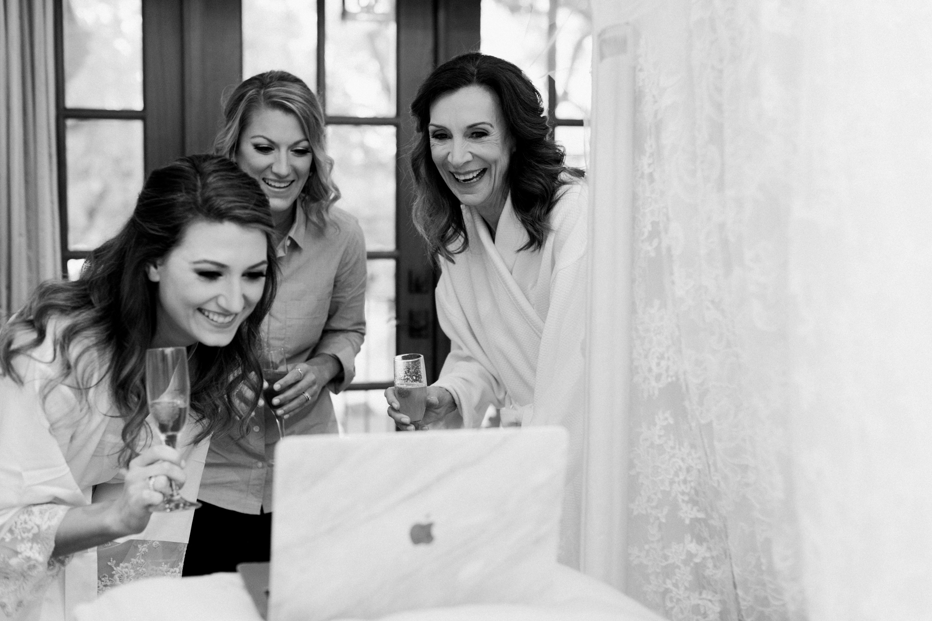 bridal party on zoom with family