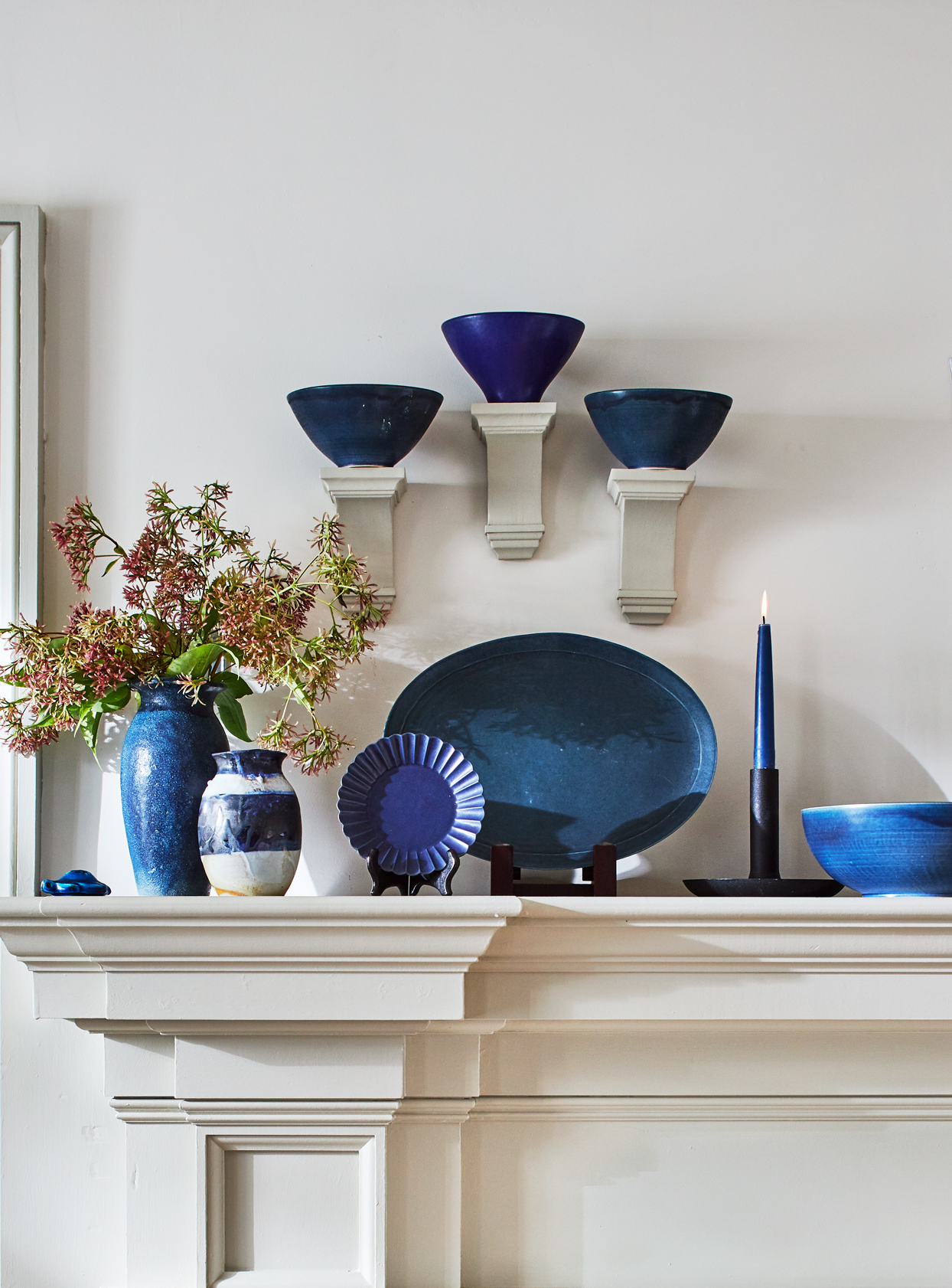pottery in navy, cobalt, and indigo