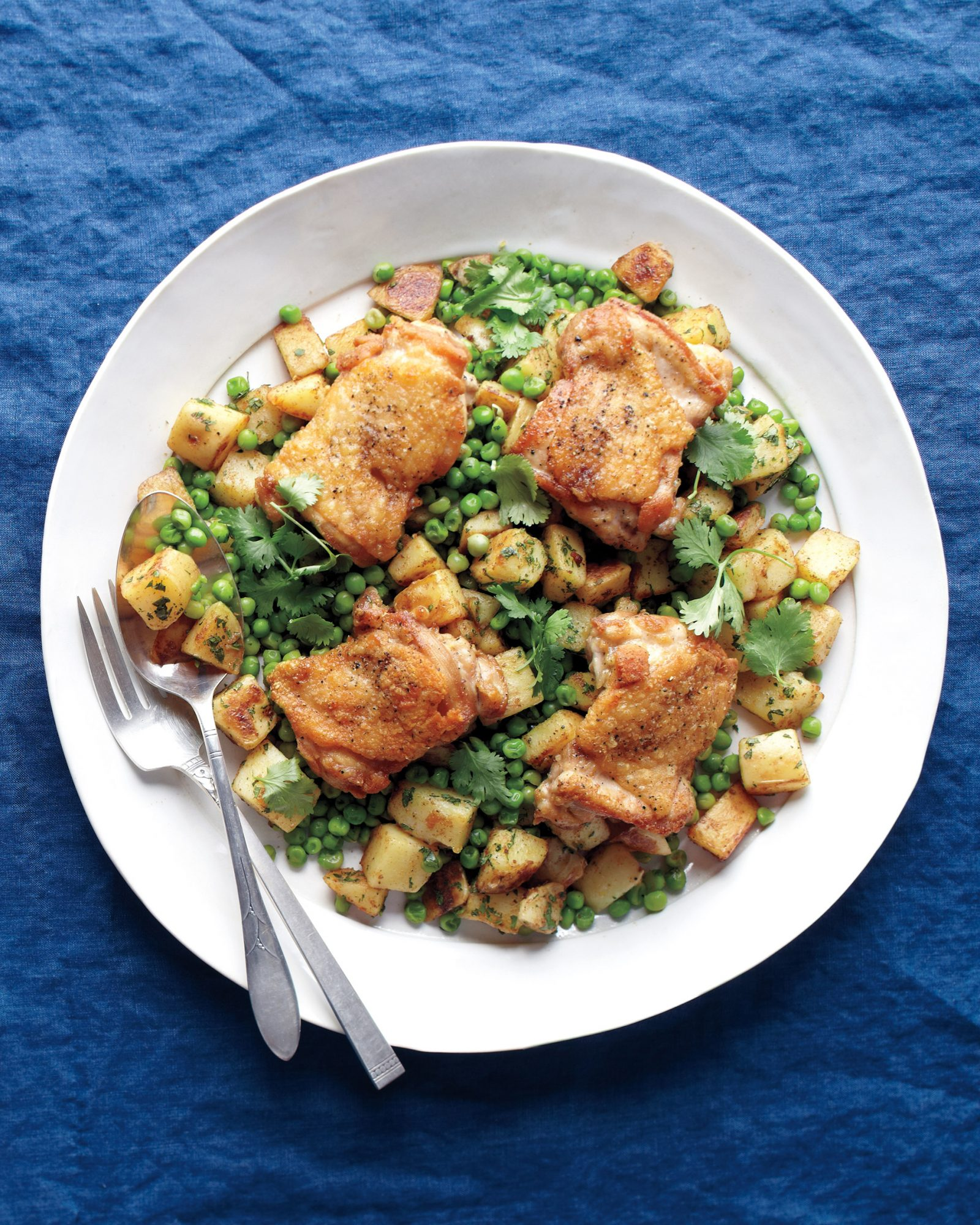 Spiced Chicken with Potatoes and Peas