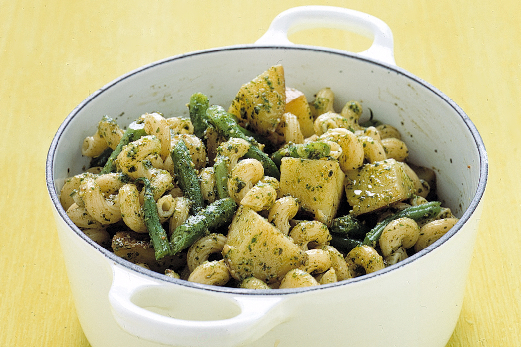 Pasta with Pesto, Potatoes, and Green Beans