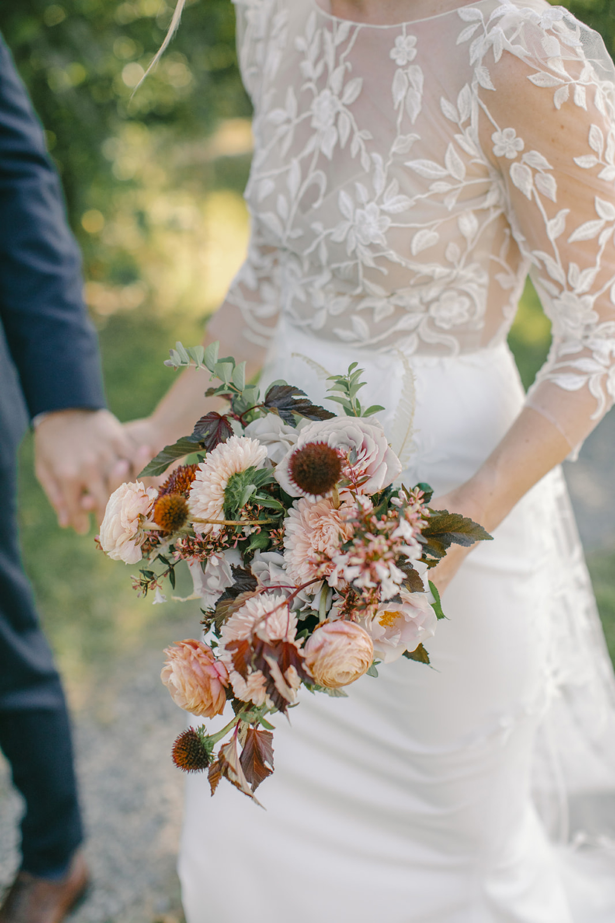bride's bouquet with garden roses and greenery