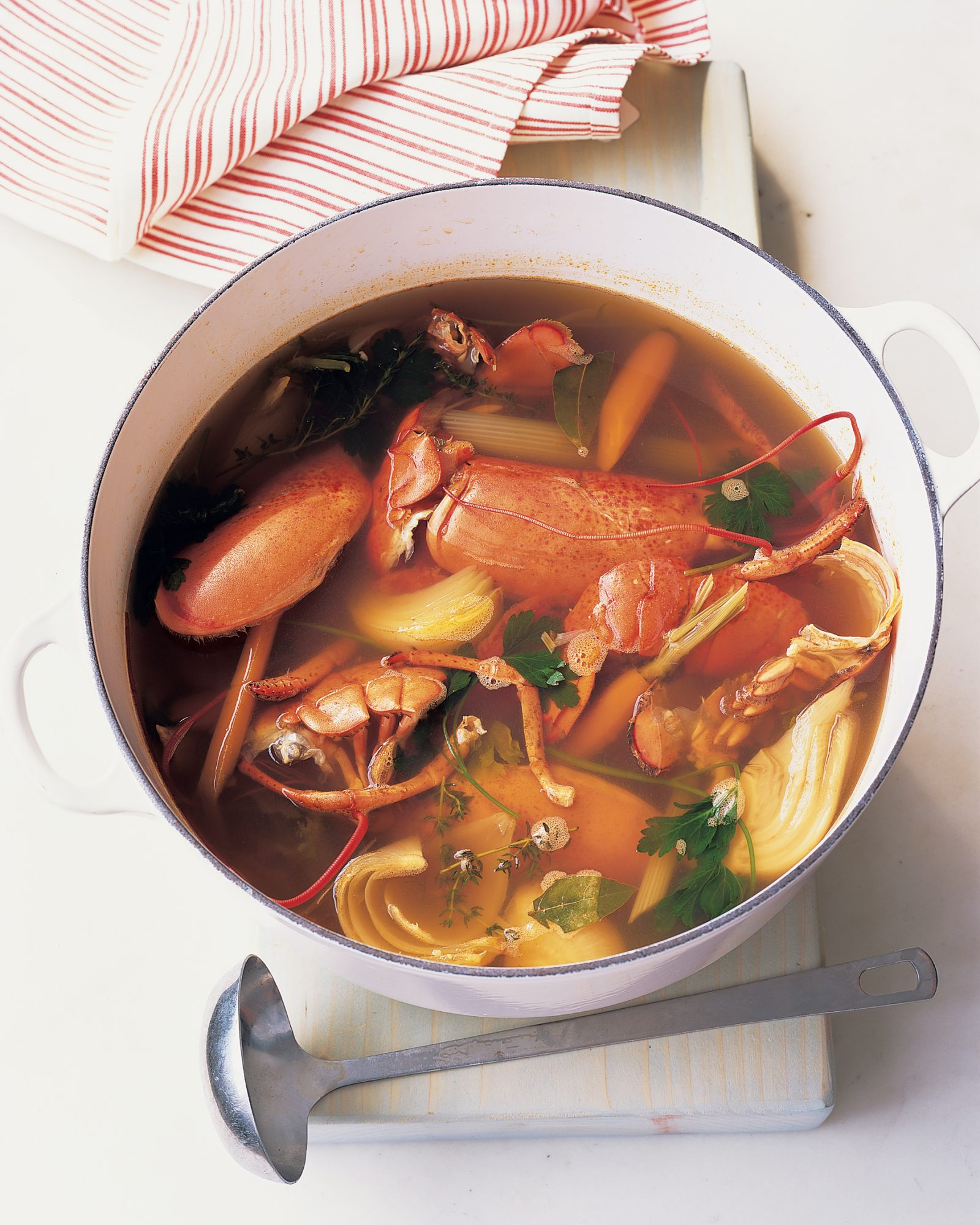 seafood stock in pot