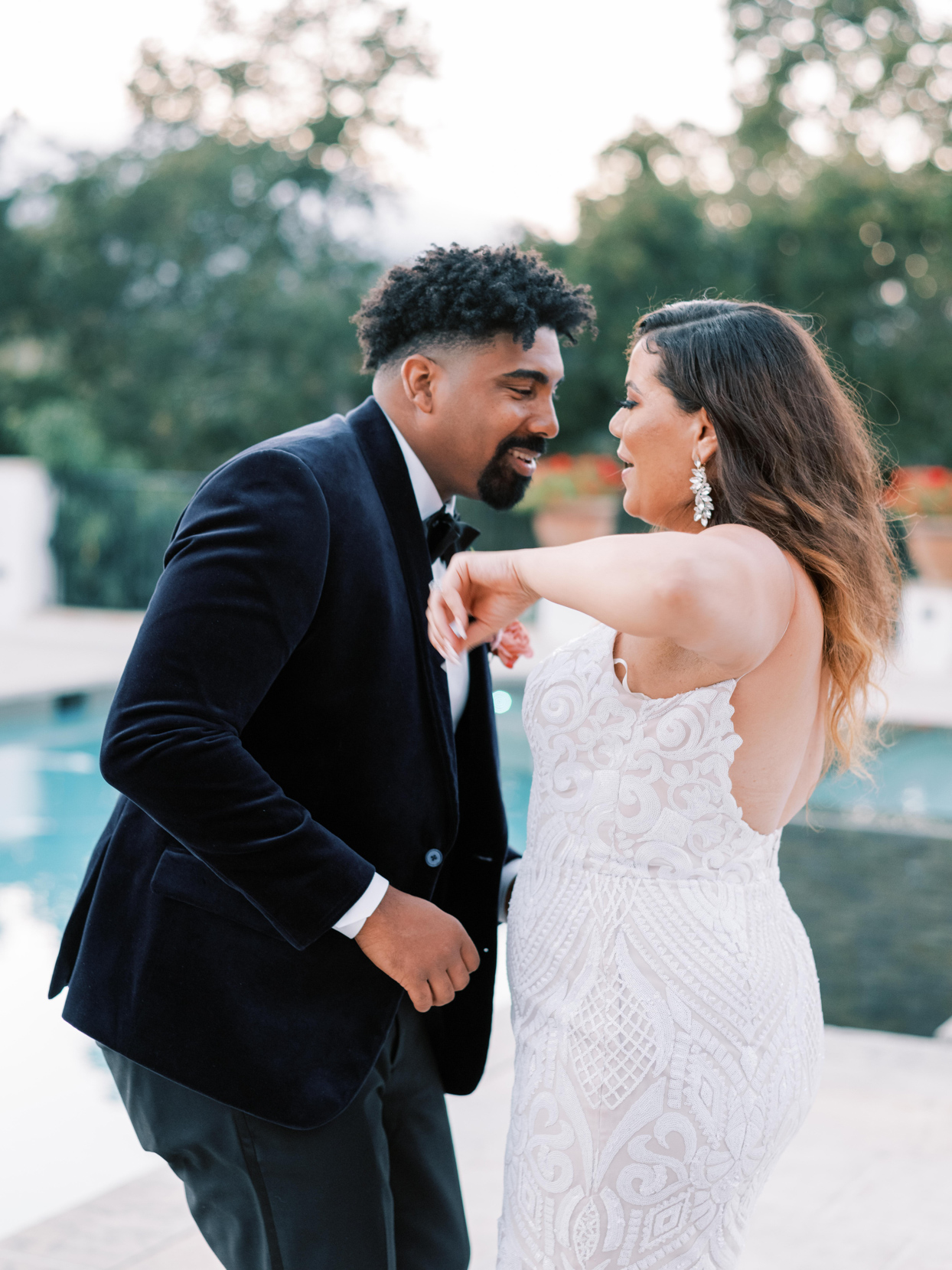 close up of couple dancing at wedding reception
