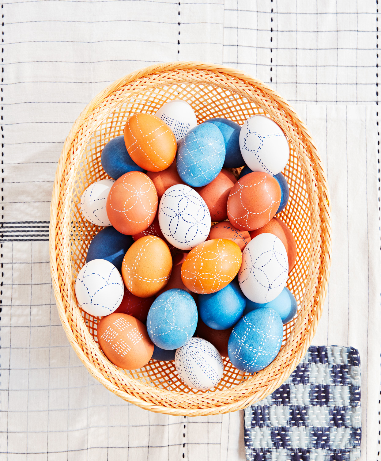 basket needlework-style dyed eggs