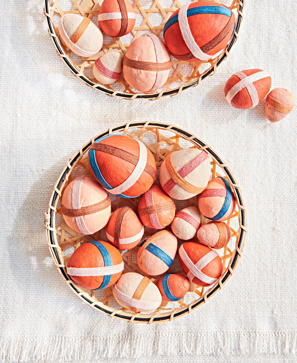 basket spun cotton eggs