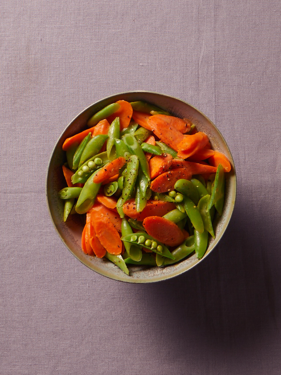 Quick Carrots and Snap Peas with Lemony Mustard Dressing
