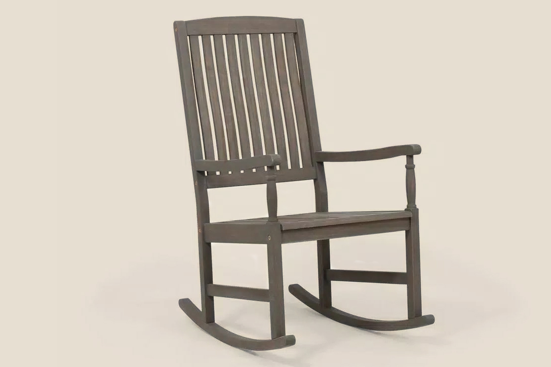 Gray Wood Outdoor Rocking Chair