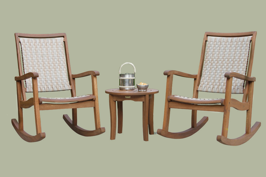 Three-Piece Eucalyptus and Ash Gray Wicker Rocking Chair Set with Round Accent Table