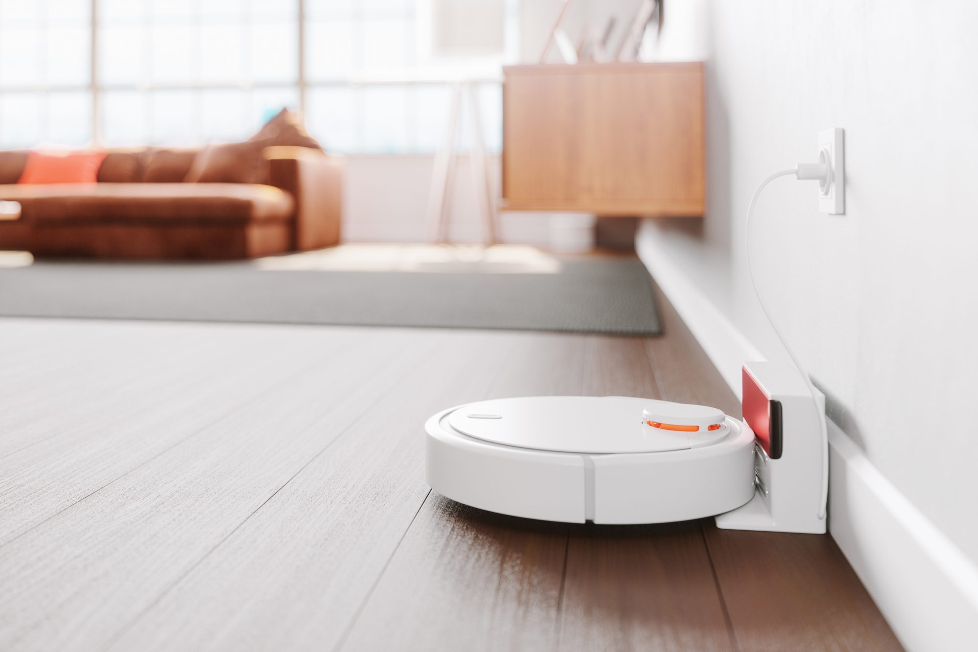 robot vacuum clean in docking station