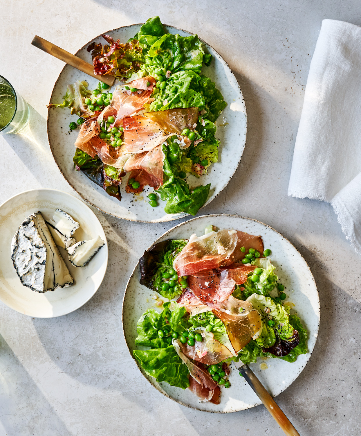 Soft Lettuces with Prosciutto, Peas, and Poppy Seeds