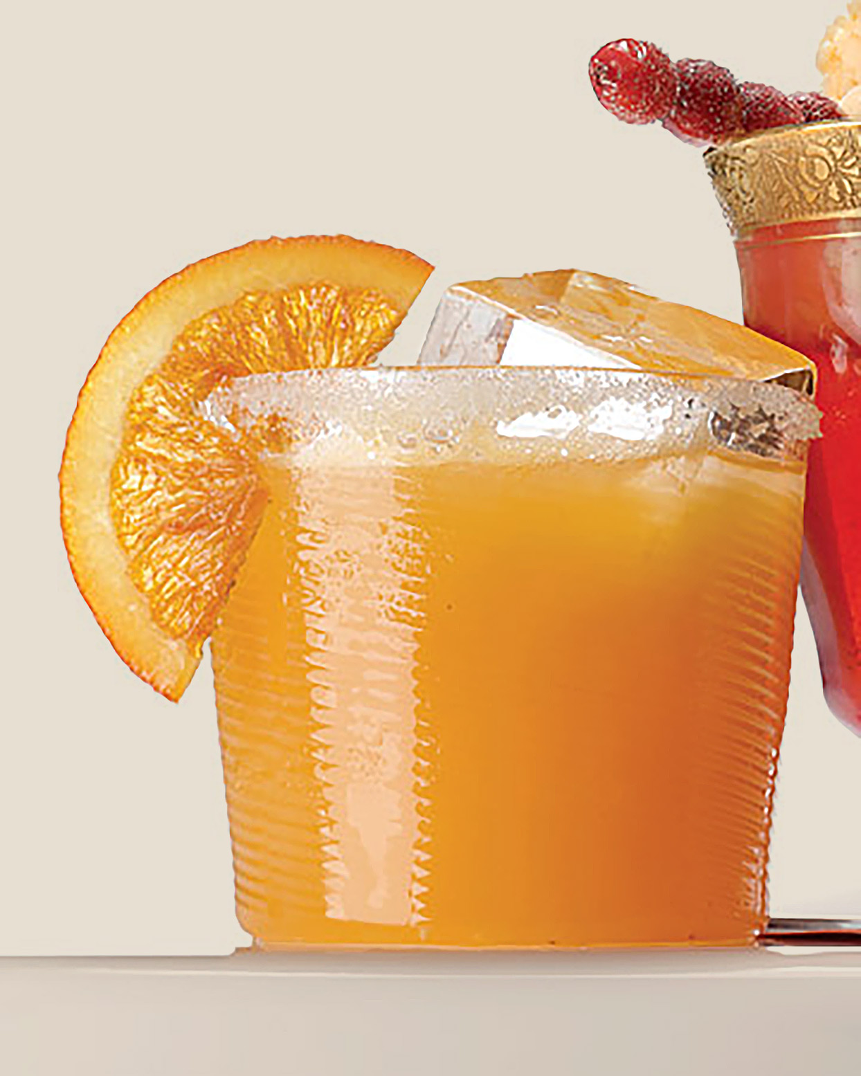 glass of sparkling cider with cara cara orange punch