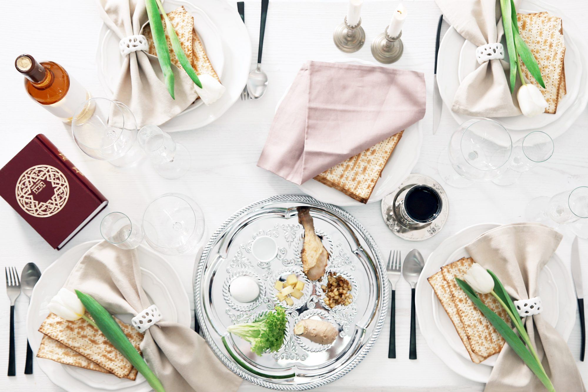 passover seder table setting from overhead
