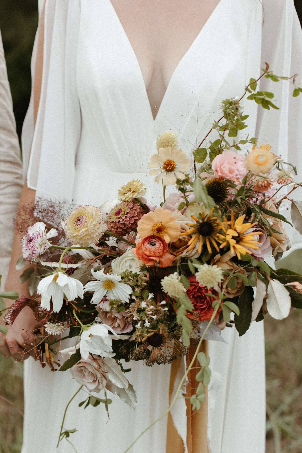 rustic foliage and floral wedding bouquet