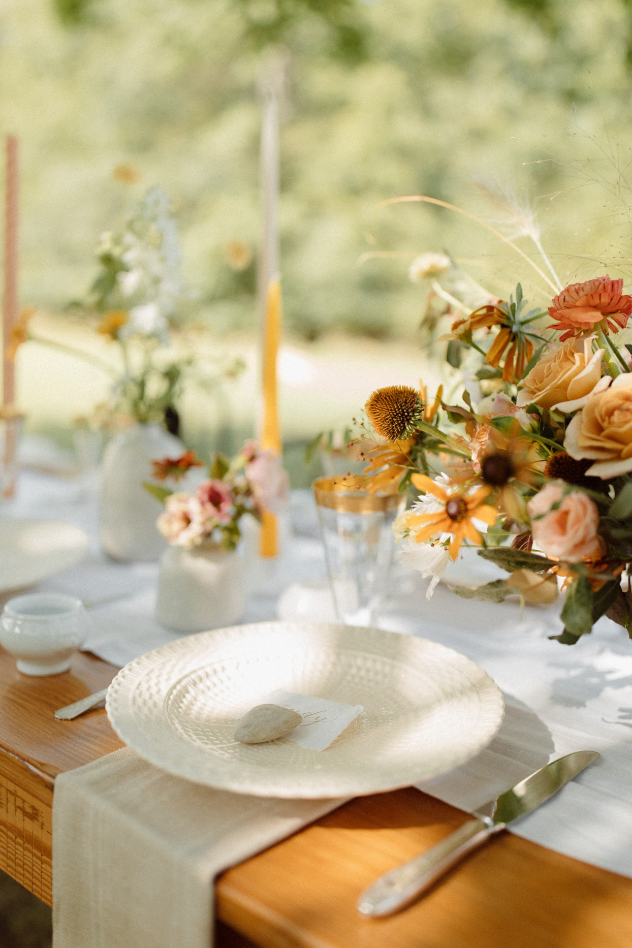 light spring colored and white place settings