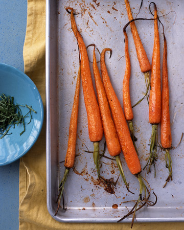 minted carrots on sheet pan
