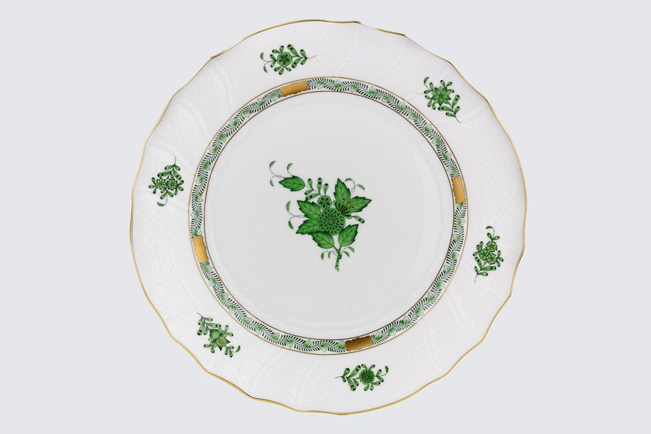 green and white herend chinese bouquet plate
