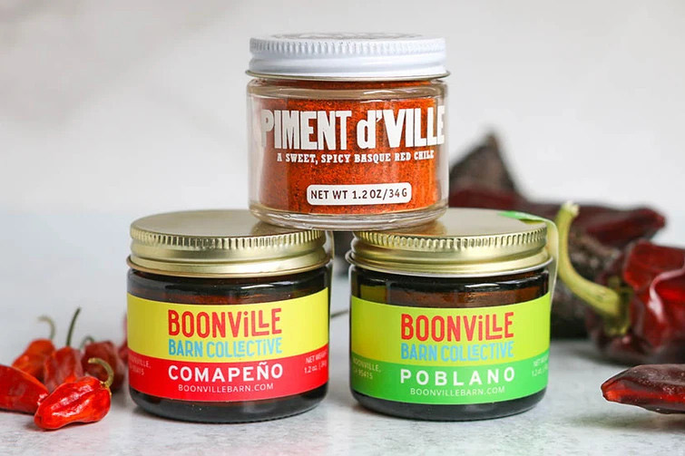 three jars of boonville barn collective chile powder