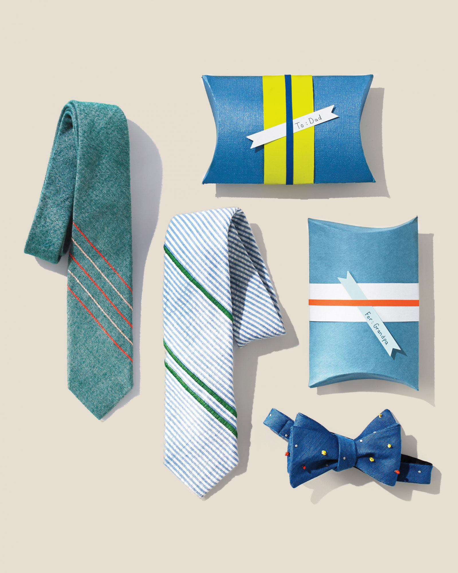 embroidered neckties and paper gift boxes