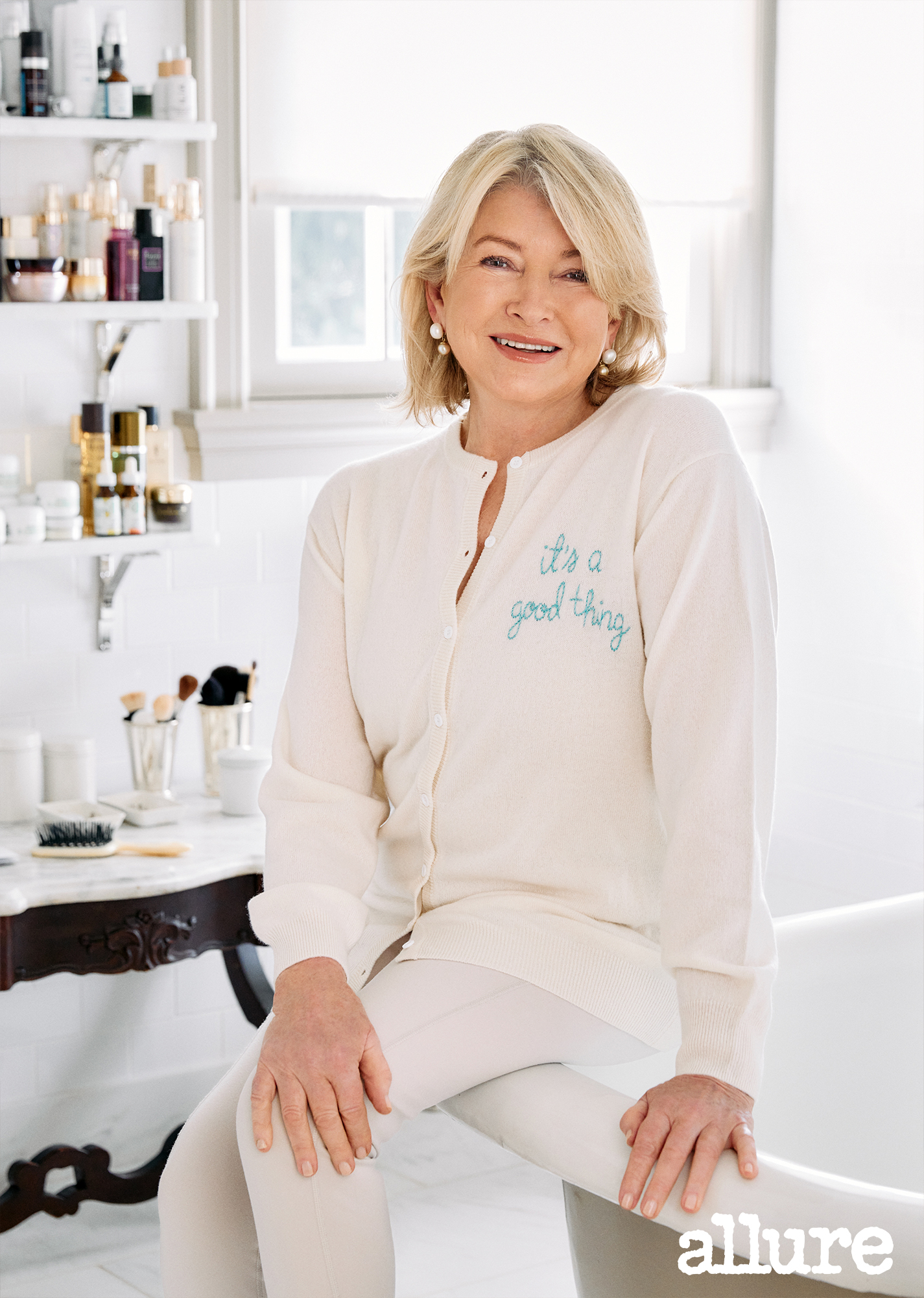 martha stewart in bathroom with beauty products