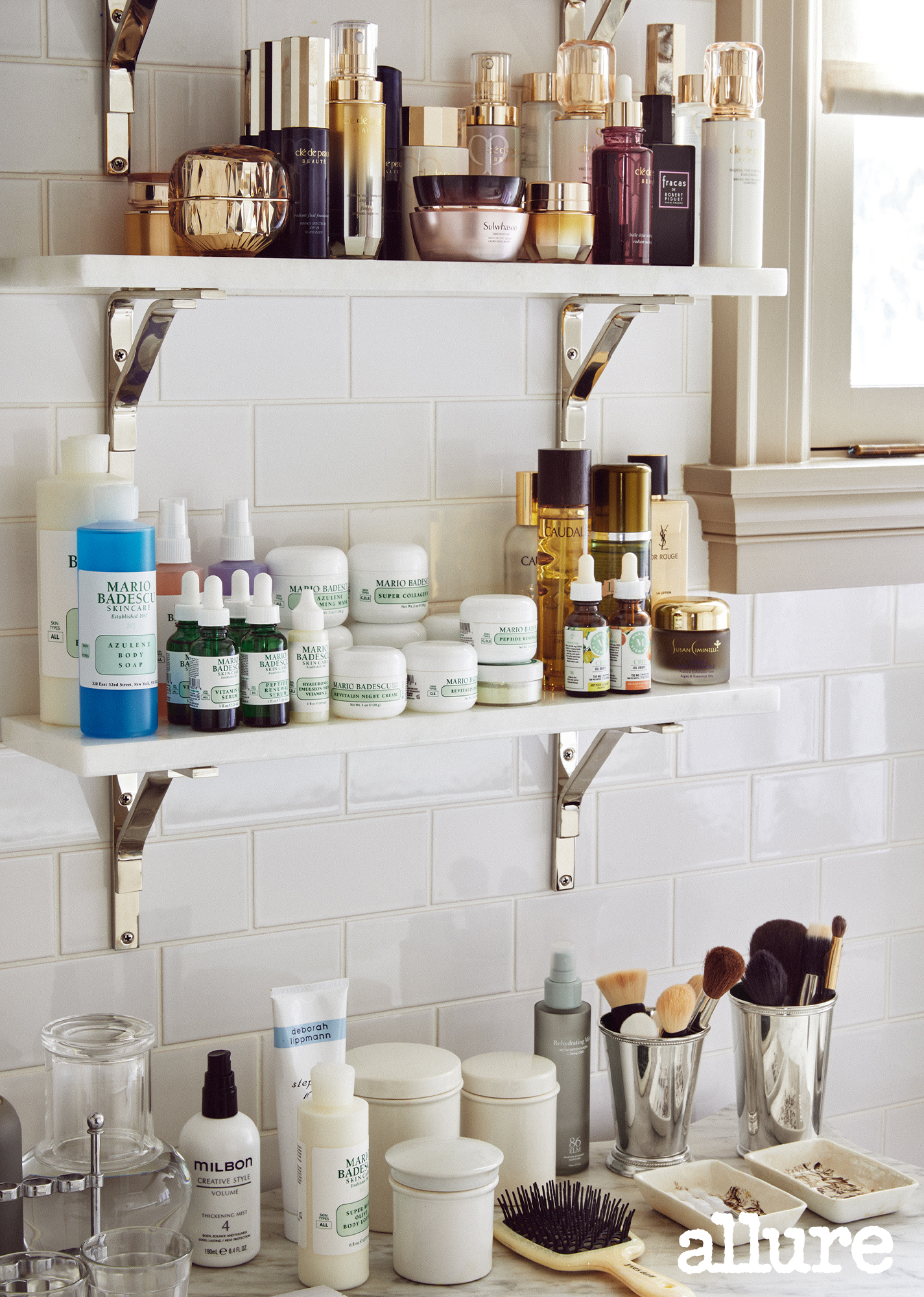 martha stewart's bathroom with shelves of beauty products