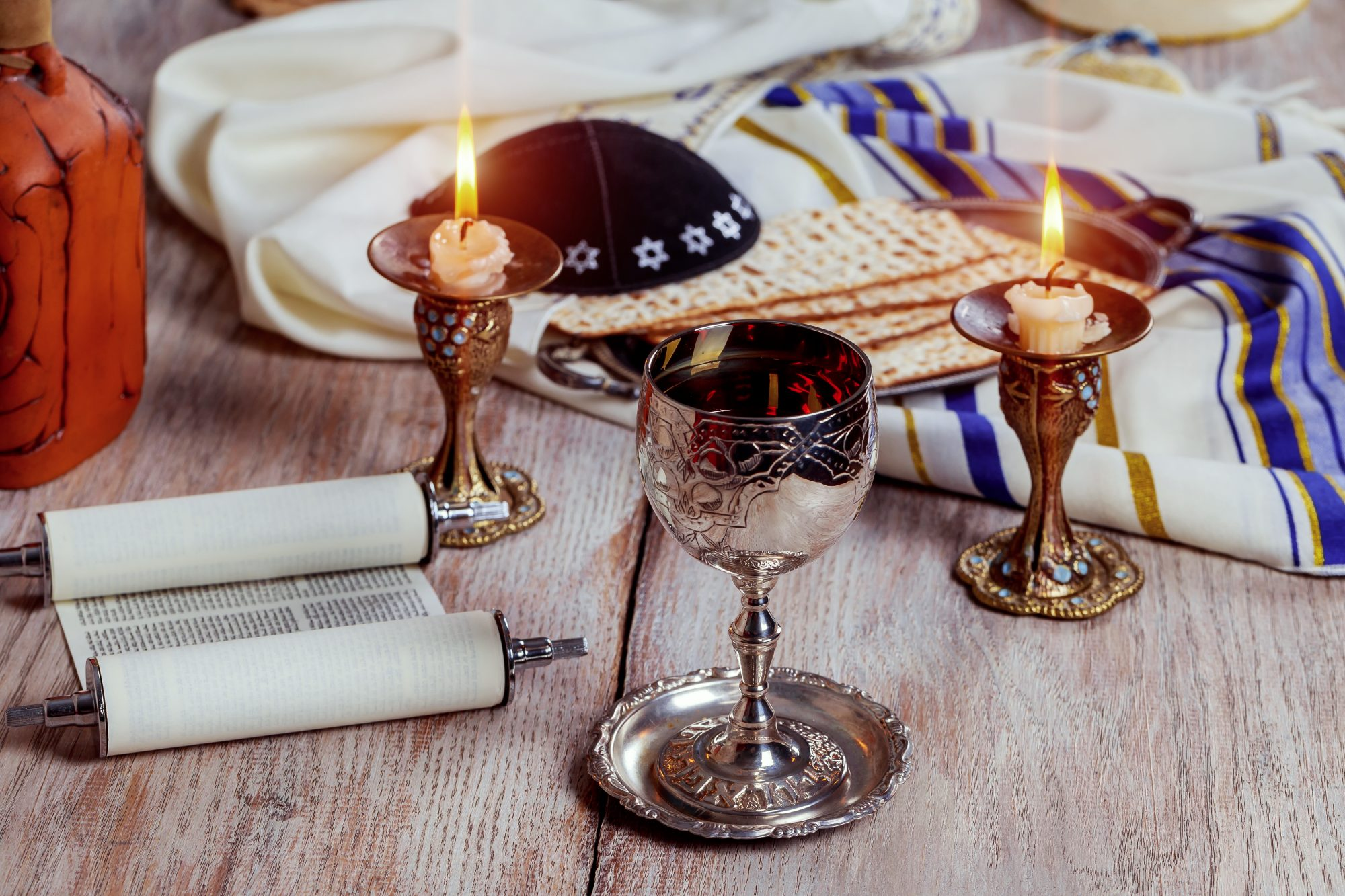 passover seder candles and wine