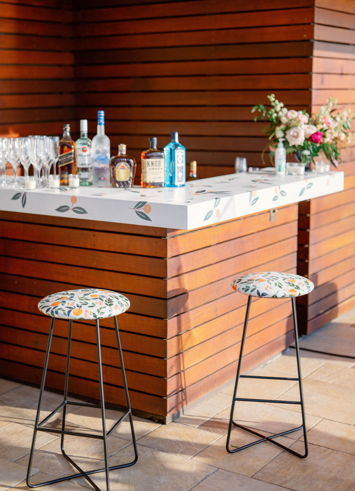a private outdoor bar area for a wedding