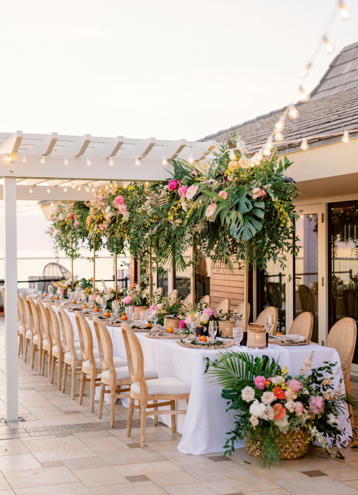 long reception table with white table cloth