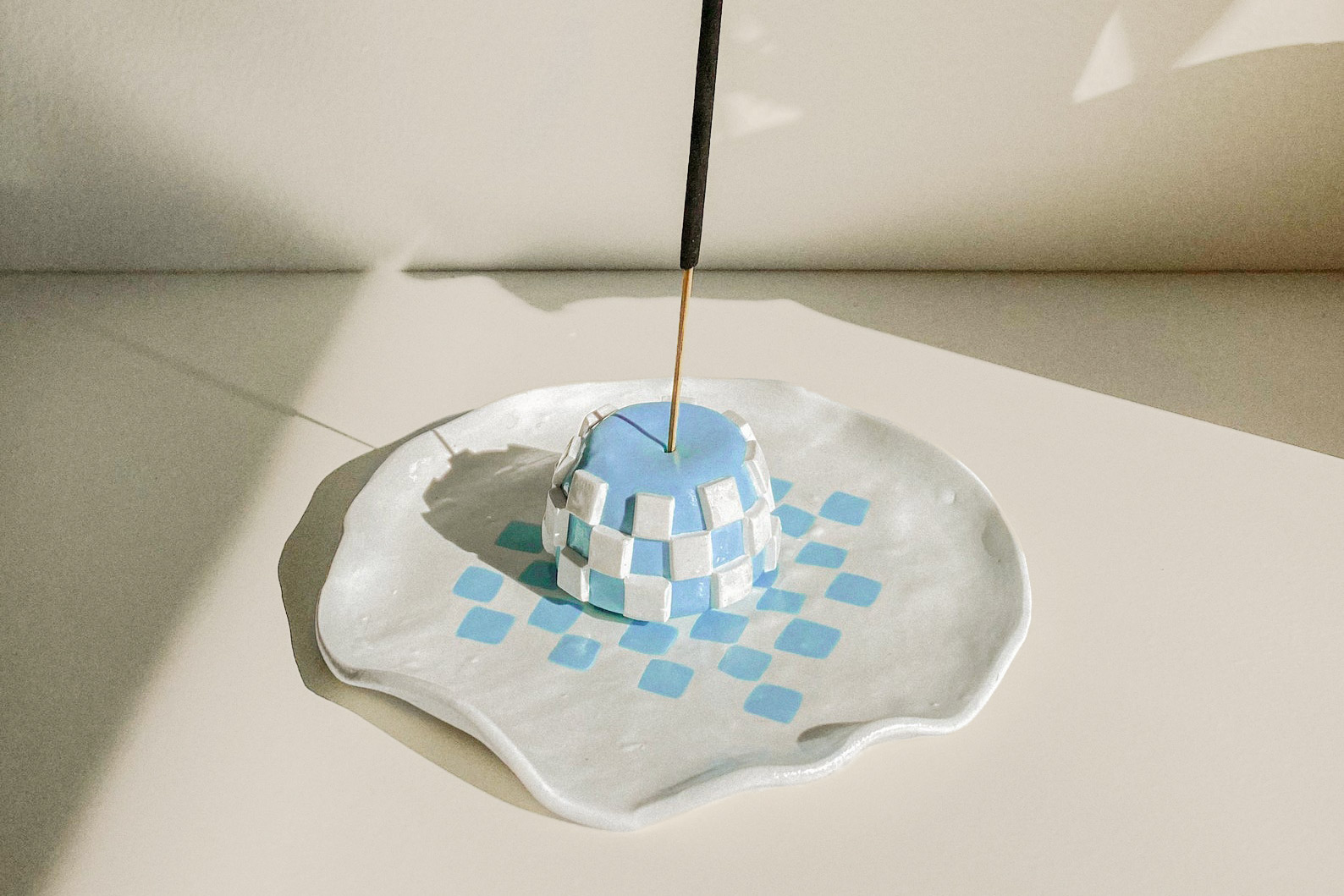 hand formed ceramic checkered incense holder and tray
