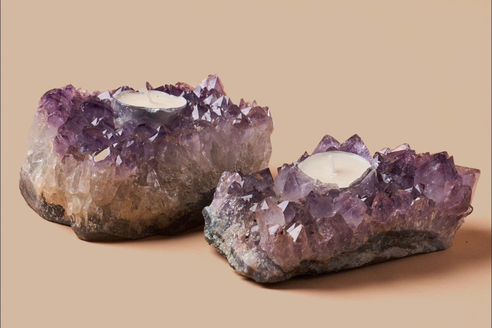 two amethyst cluster candle holders