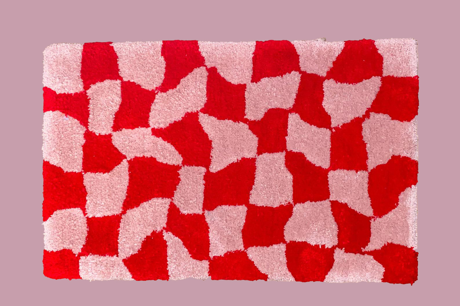 Wavy Red Checkered Rug