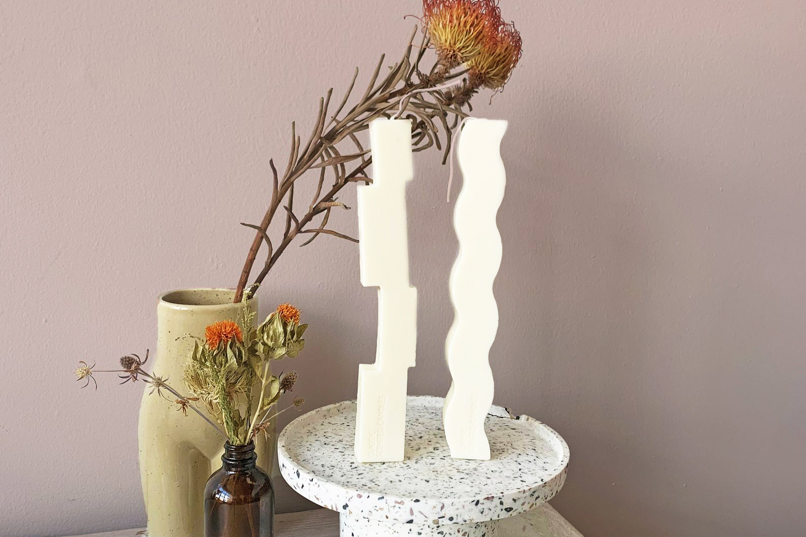 squiggly shaped candles