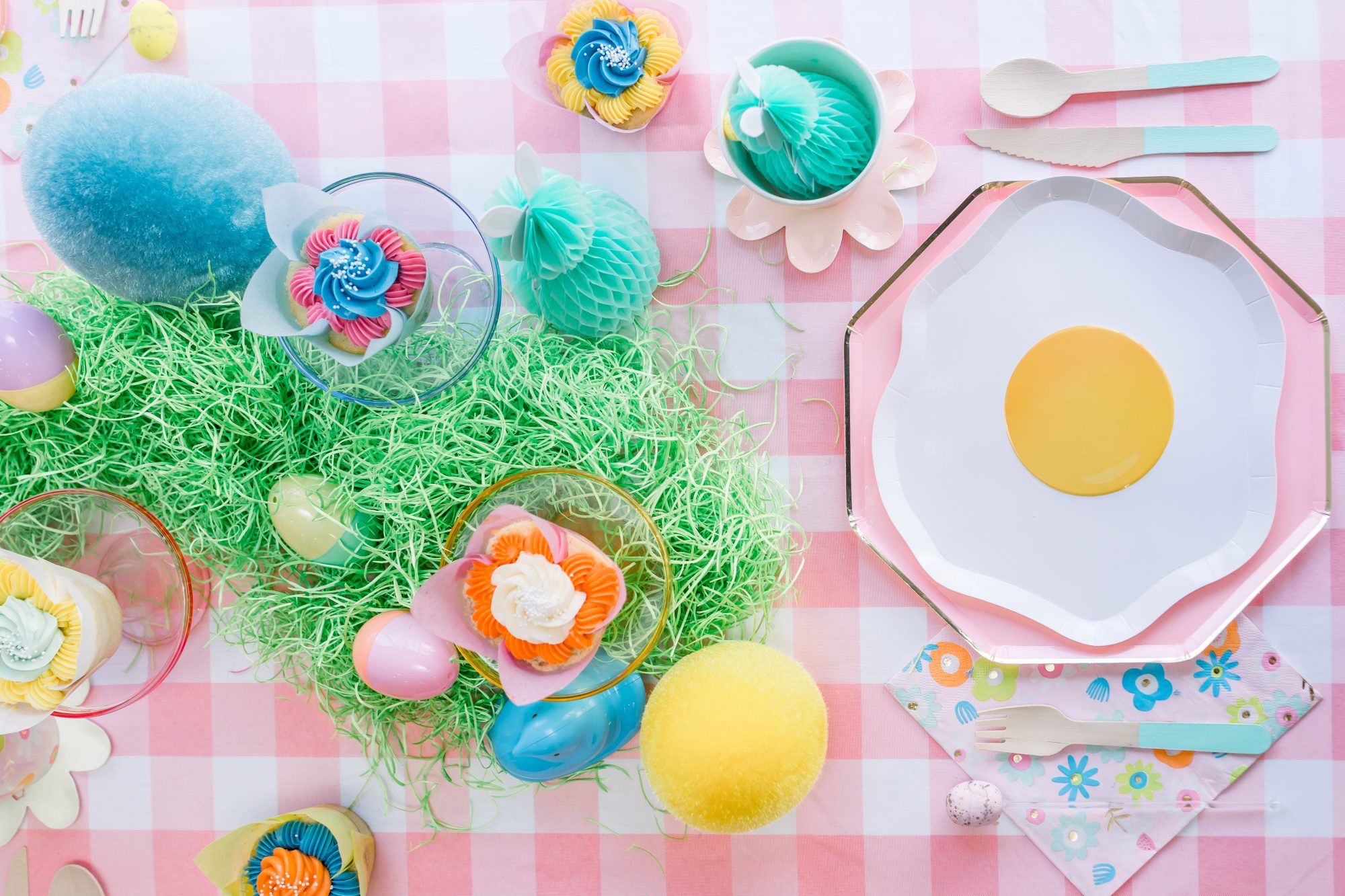 colorful easter table setting