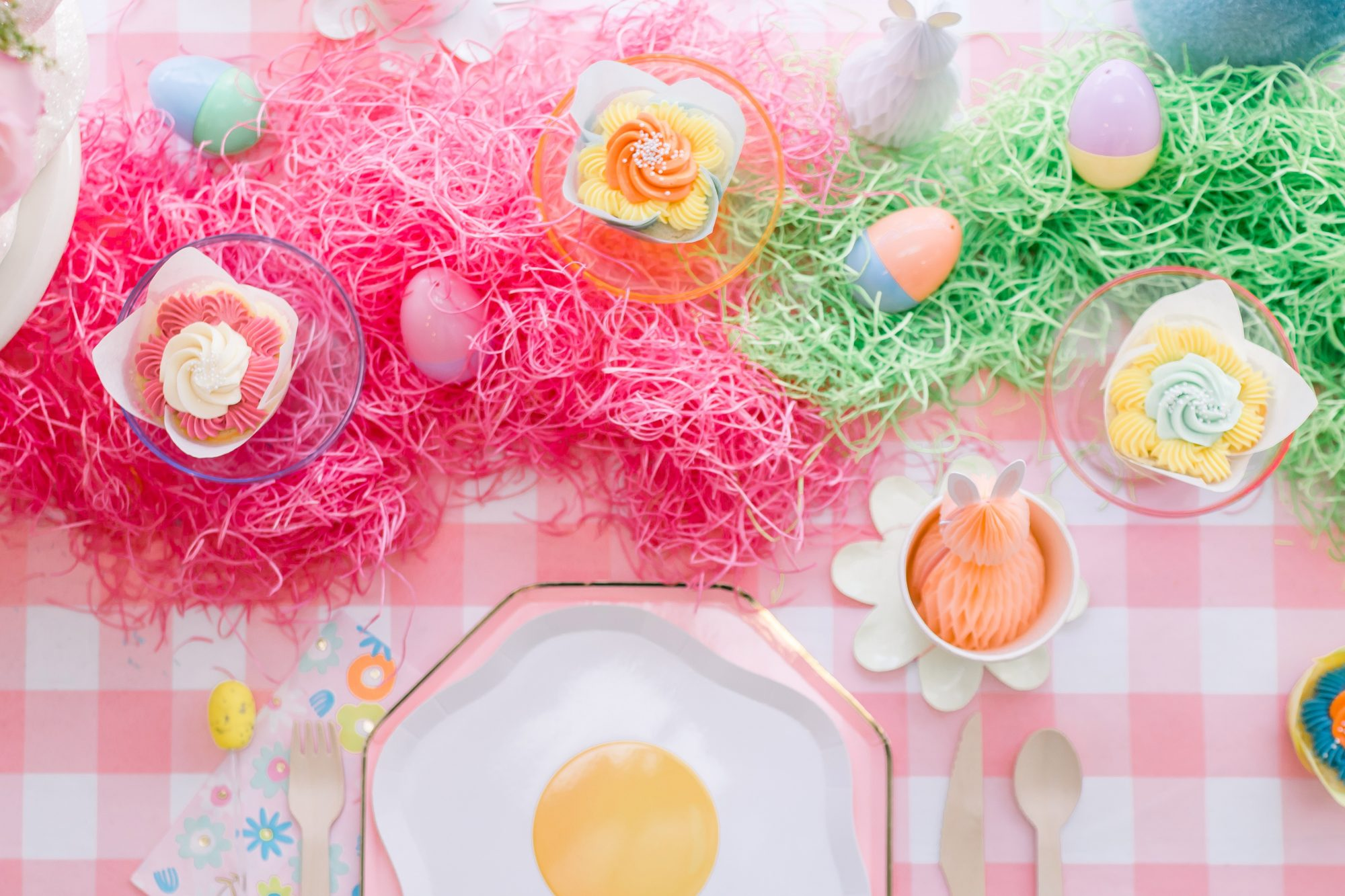 easter candy on cheerful table setting