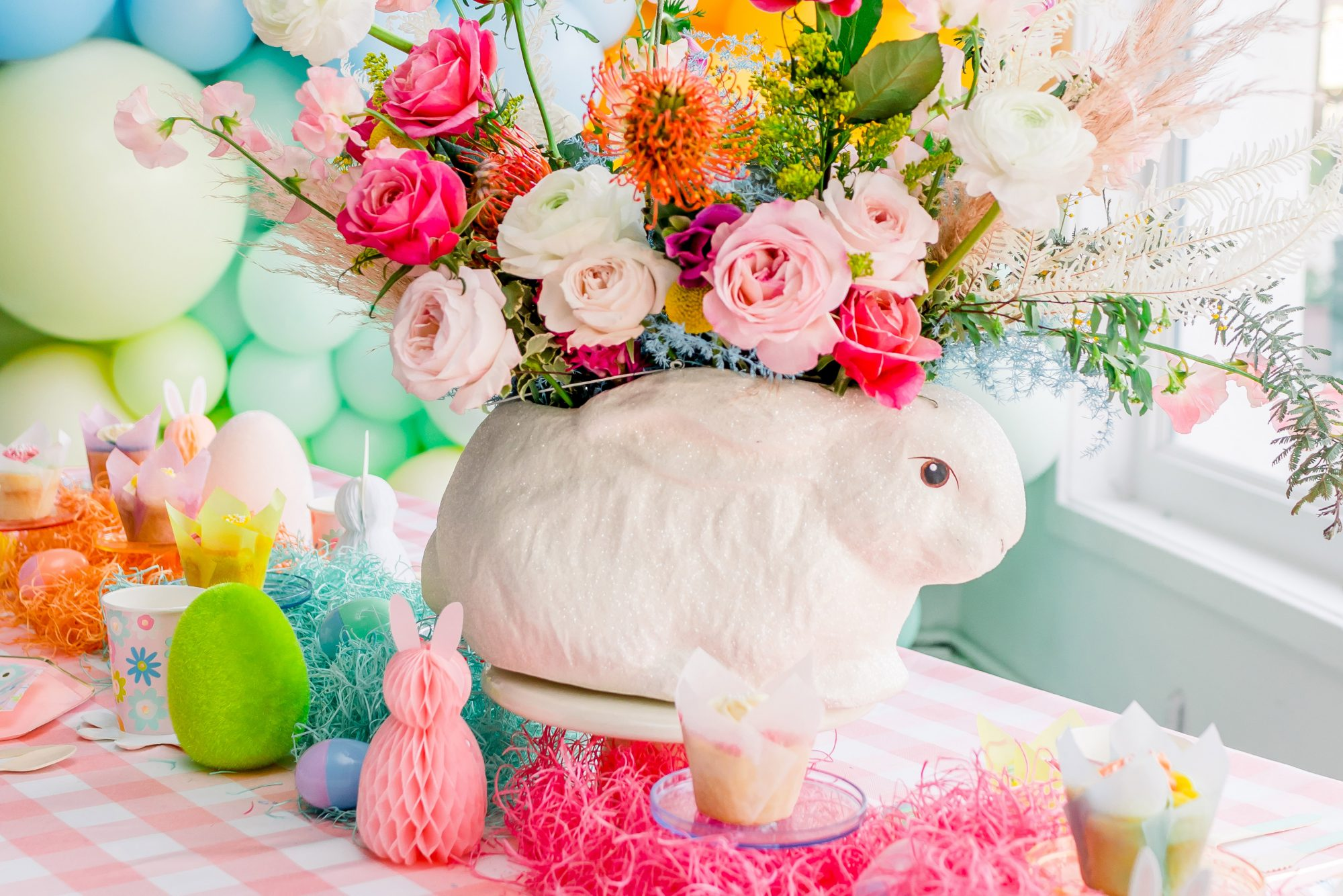 ceramic easter bunny vase on table