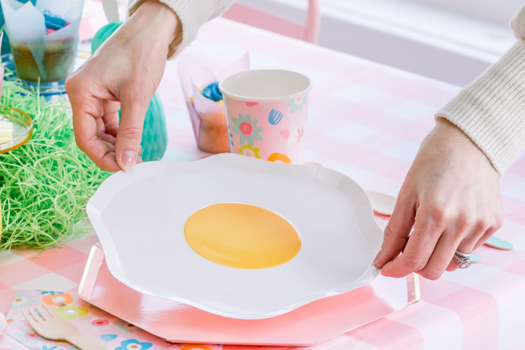 sunny up egg shaped plate easter table setting