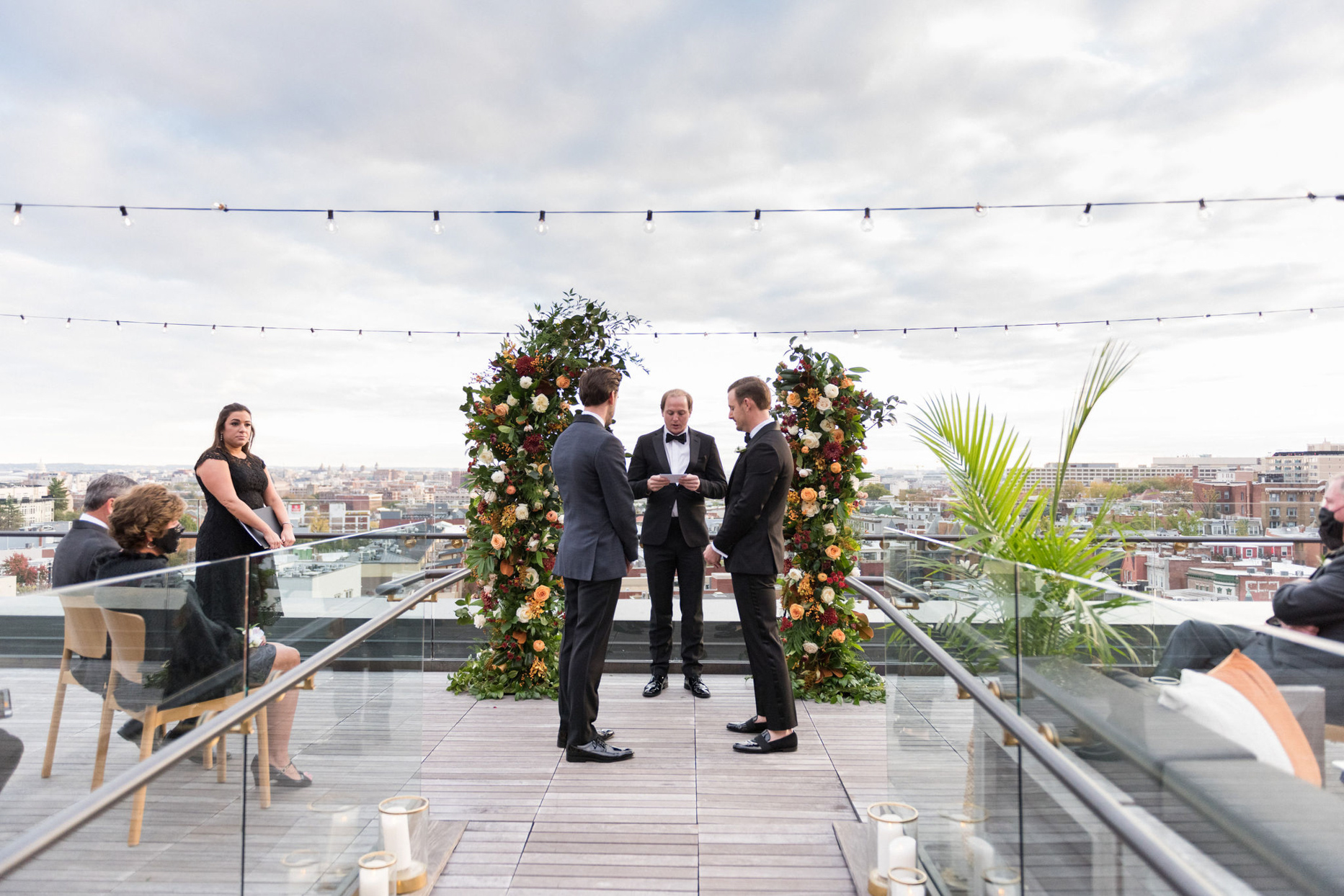 rooftop wedding ceremony with city view