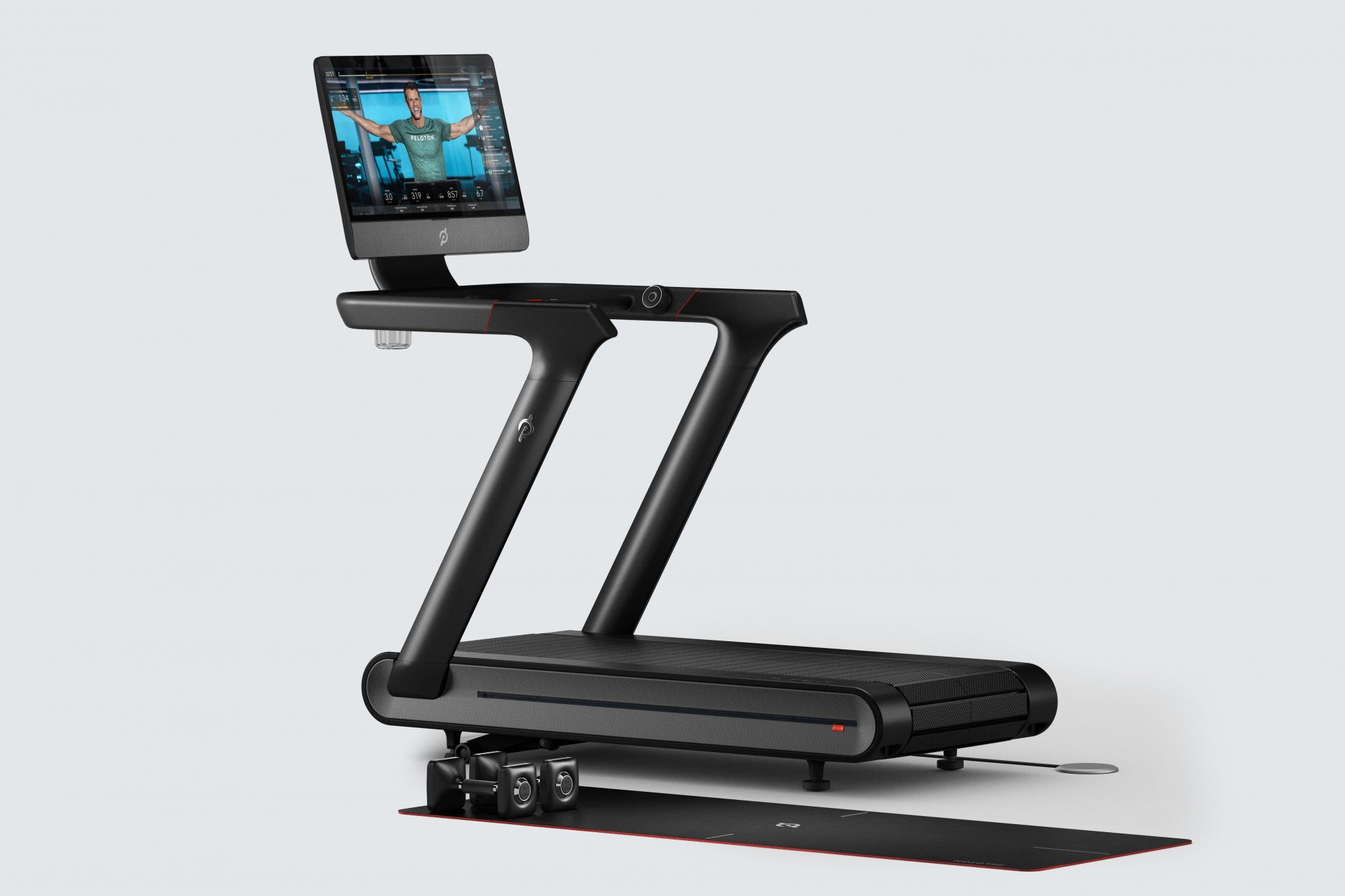 peloton treadmill with weights and mat