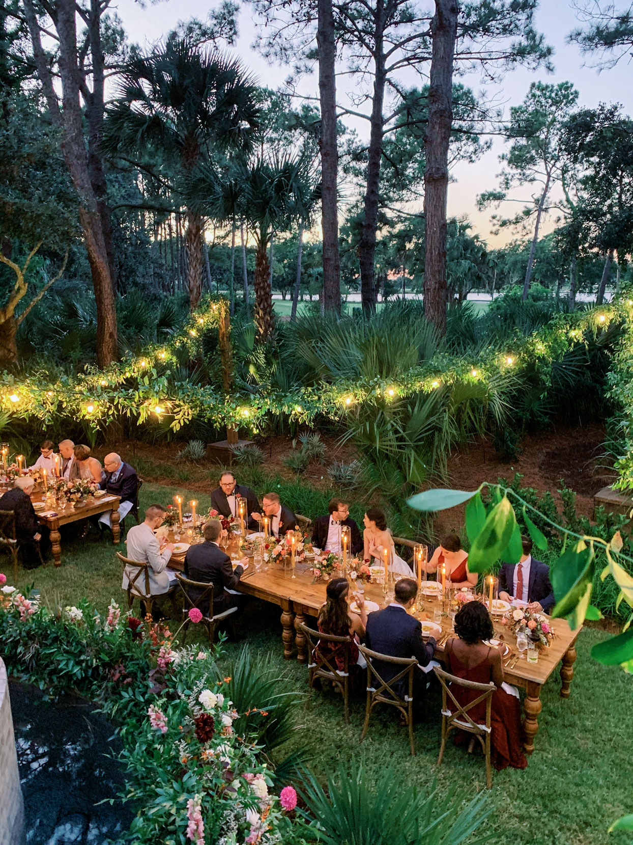 overhead view of outdoor long wooden dining tables