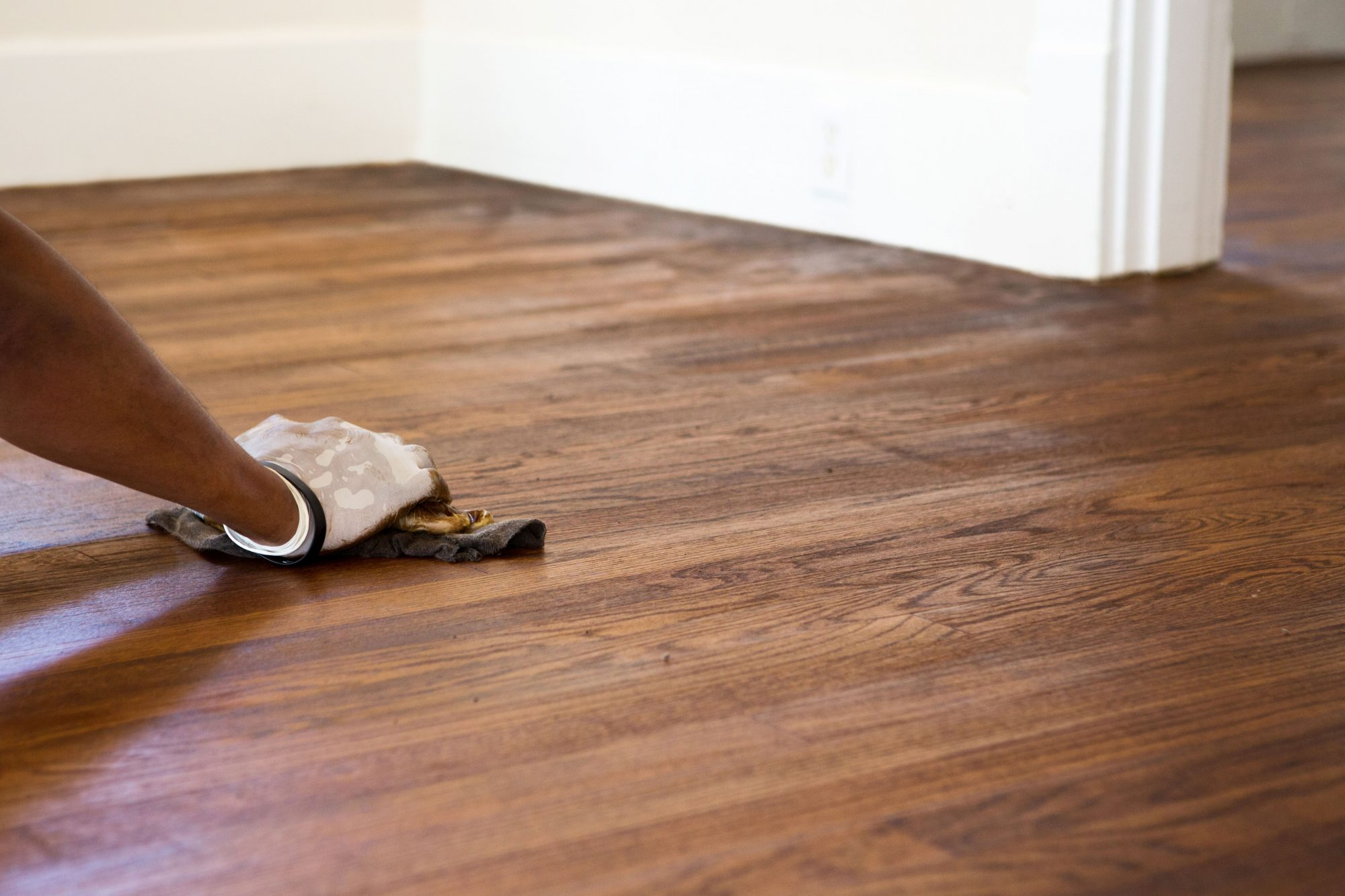 refinishing hardwood floor with stain