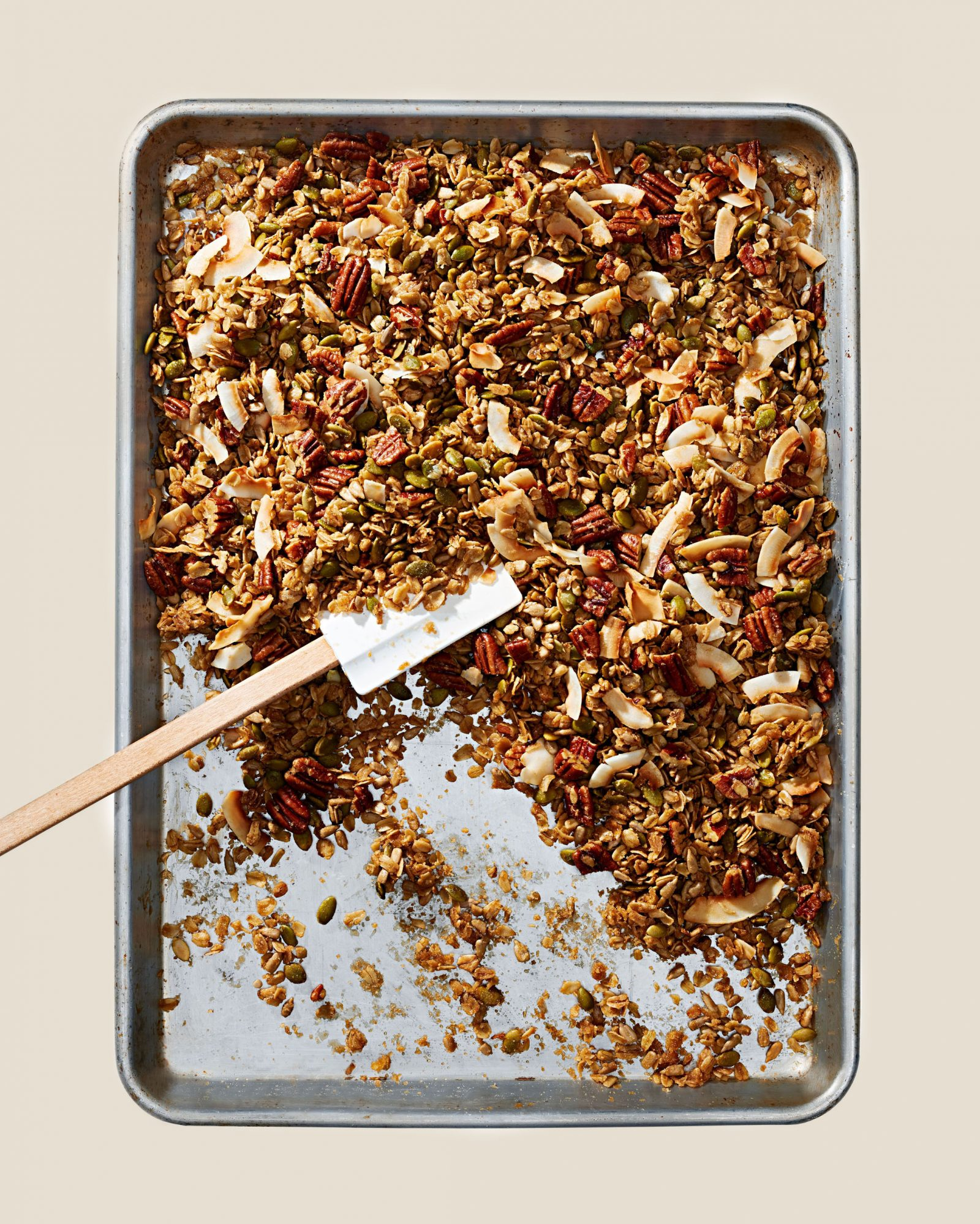 toasted coconut granola on sheet pan