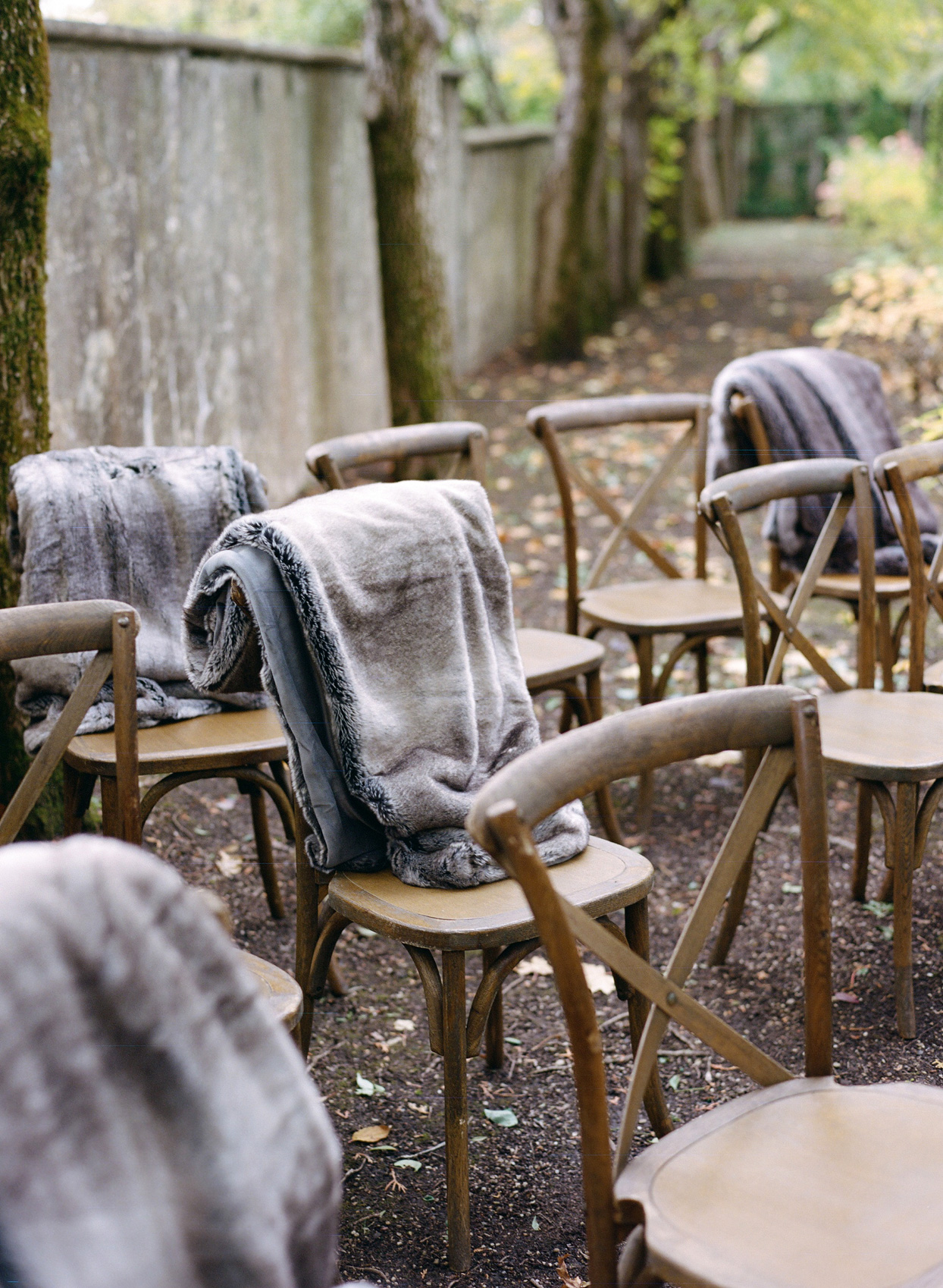 ceremony chairs with cozy blankets