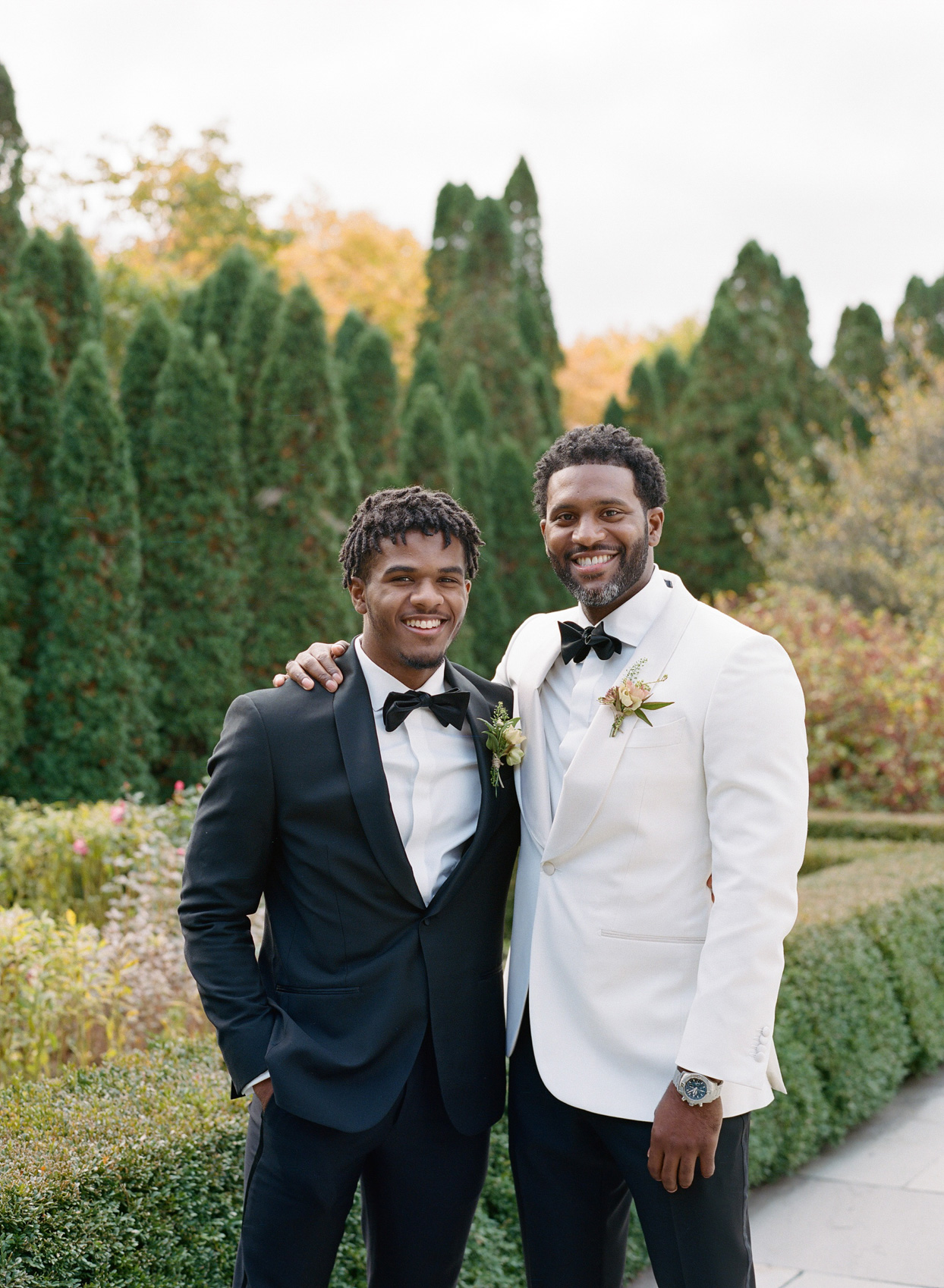 groom and son in gardens