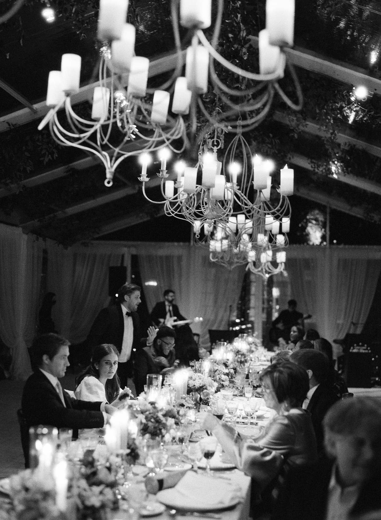 reception dinner at long banquet table