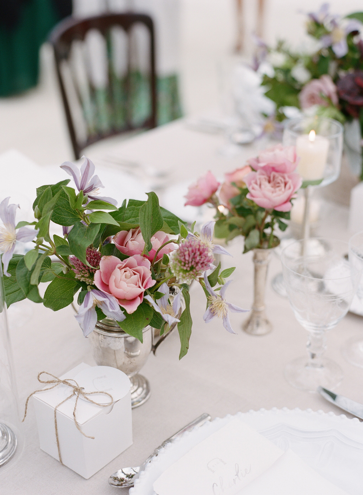 floral centerpieces and box favors