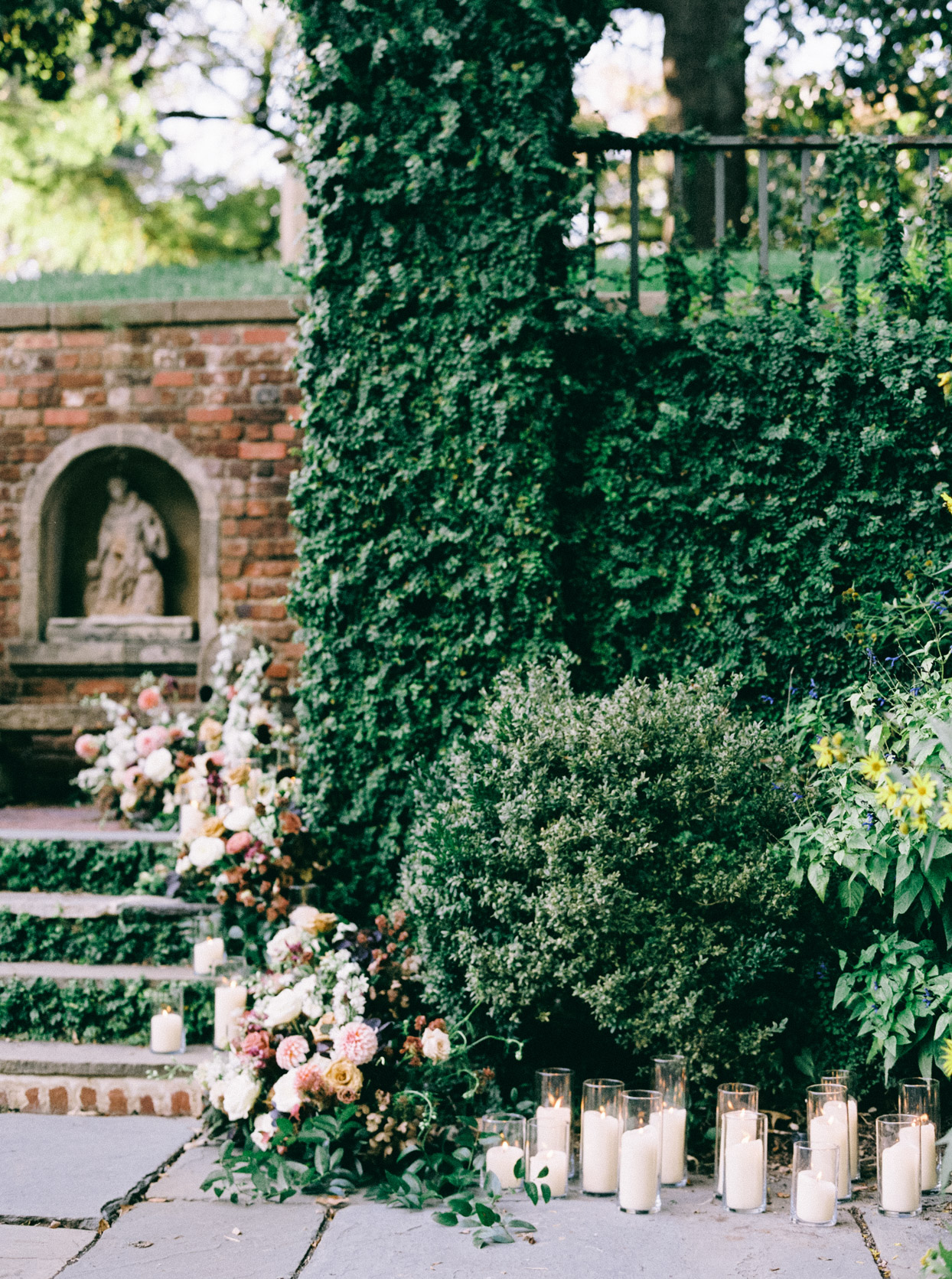 garden ceremony setting with florals and candles