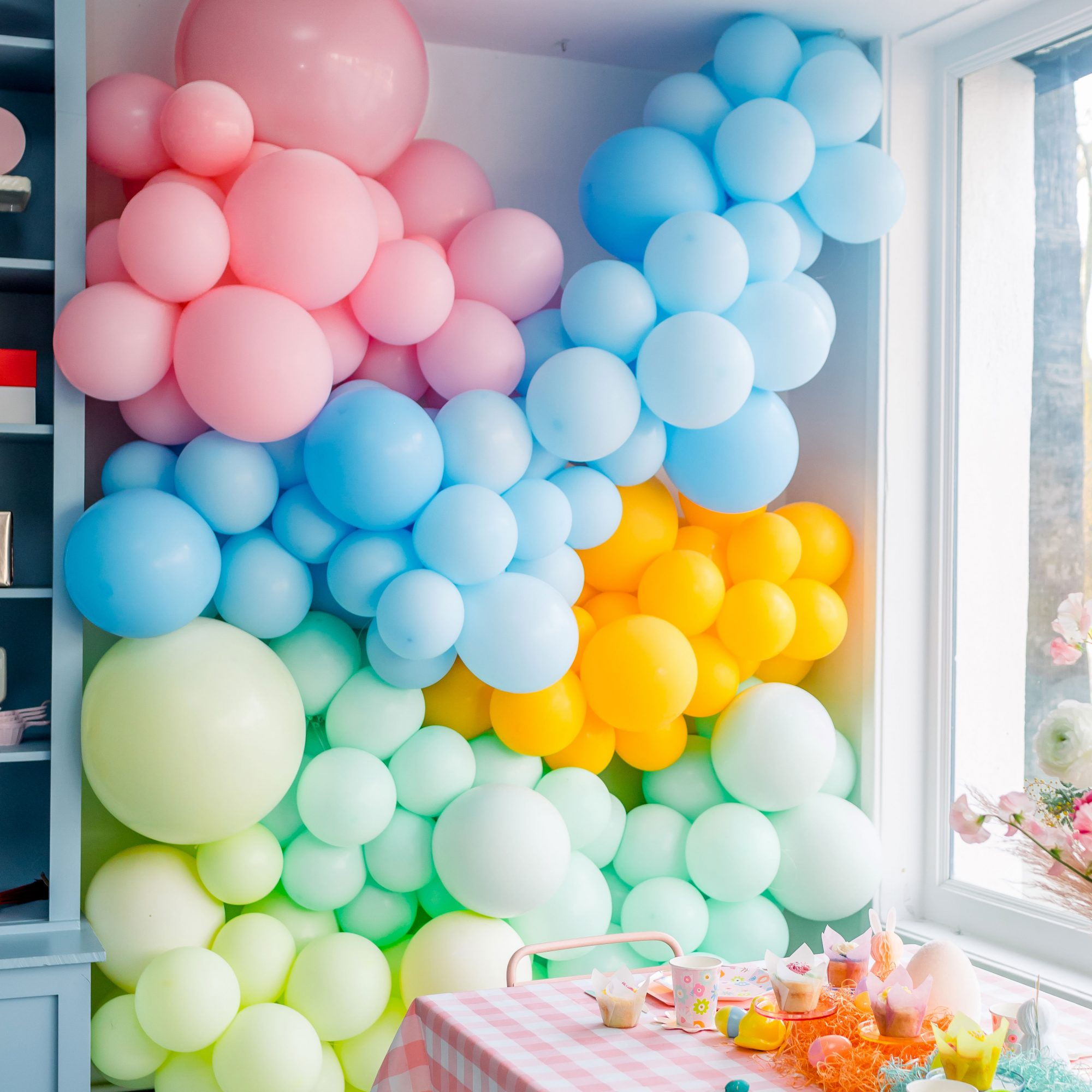 festive balloon wall for party