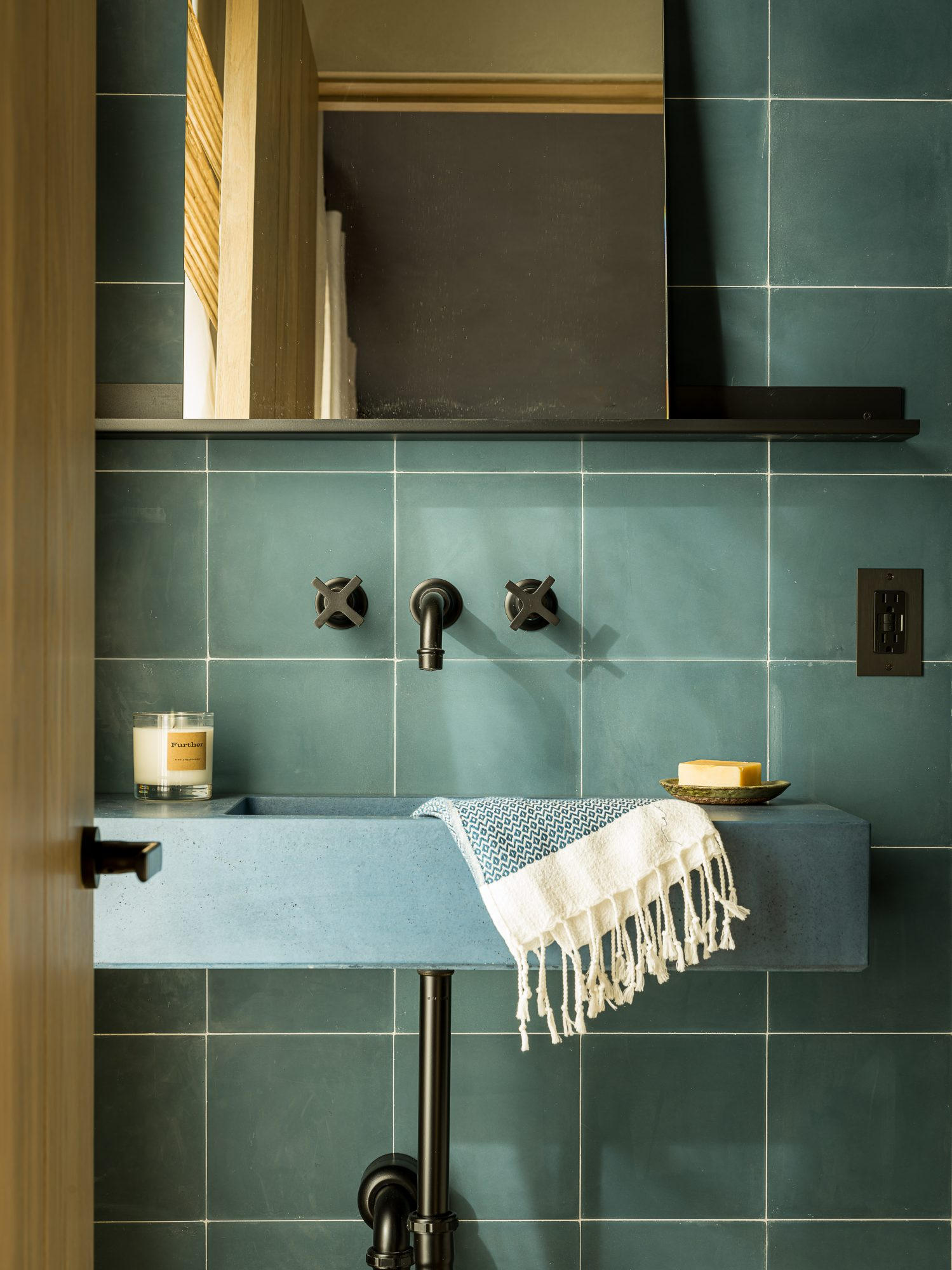 rob diaz home tour teal sink and tile wall