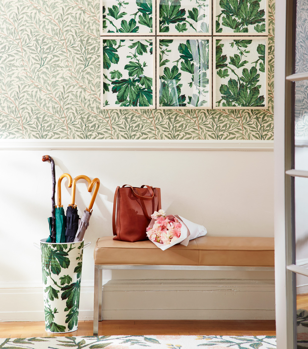 green accented entryway